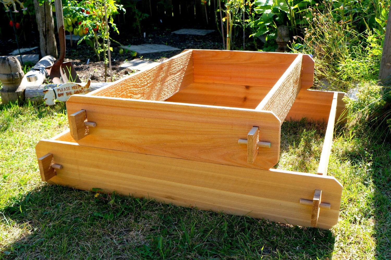 Garden Raised Bed Planter Flower Box Cedar Vegetable Kit Outdoor Elevated Herb on Tiered Raised Garden Beds