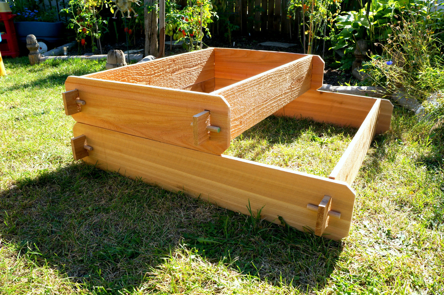 Garden raised bed planter flower box cedar vegetable kit for Flower garden box ideas