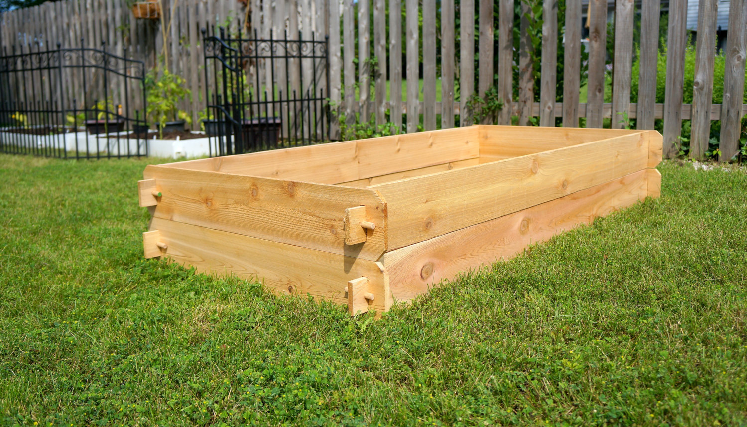 Raised Bed Garden Planter Flower Vegetable Cedar Box Kit Outdoor Plant Gardening