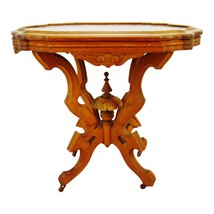Antique Victorian Eastlake Style Marble Top Table - $695.00