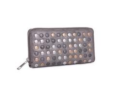 Katya Metallic Wallet Clutch in Silver accents
