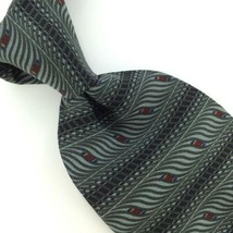 BILL BLASS STRIPED Waves GRAY BLACK Silk Men Necktie I1-415 Excellent Ties - $15.83