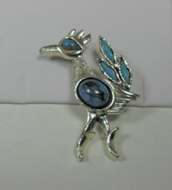 Vintage Silver Tone Faux Turquoise Road Runner Pin Brooch Southwest Style - $12.86