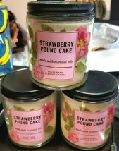 Bath And Body Works 3 Pack Of Strawberry Pound Cake Single Wick Candles ... - $30.09