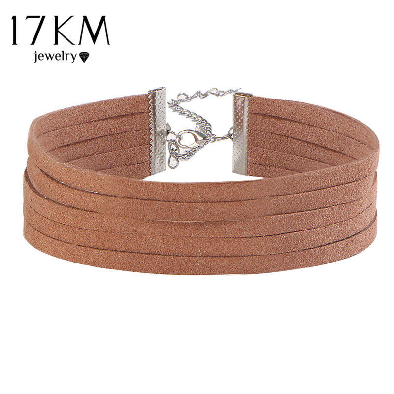 17KM® Fashion Sequins Choker Set Punk Leather Long Necklace Multi Layer Pendant