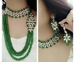Indio Moda Diwali Pearl Boda Joyería Oro Conjunto Collar y Pendientes - $38.57