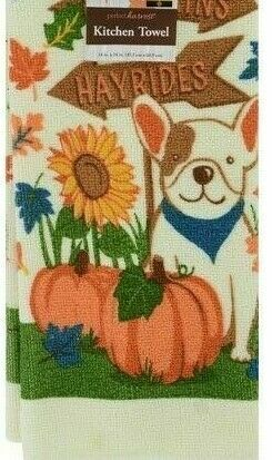 "Primary image for 2 Kitchen Towels with Signpost ""Pumpkins Hayrides"" Dog, Pumpkins Sunflower"
