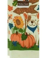"2 Kitchen Towels with Signpost ""Pumpkins Hayrides"" Dog, Pumpkins Sunflower  - $7.00"