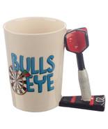 Bulls Eye Darts Coffee Mug, Ceramic Dart Shaped Handle Mug Cup in Gift Box - $19.99