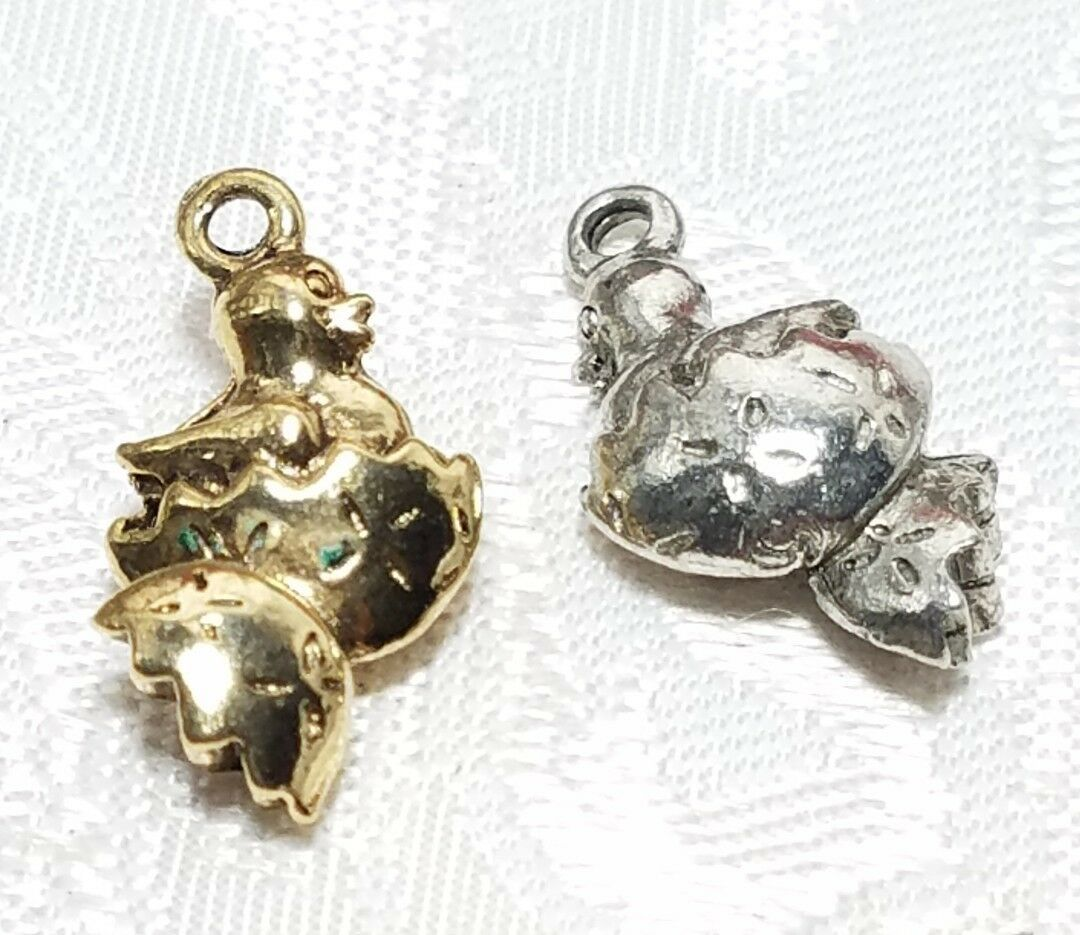 CHICKEN IN EGG FINE PEWTER PENDANT CHARM - 9mm L x 19mm W x 5mm D