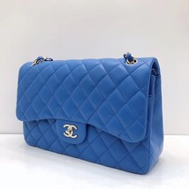 NEW Authentic Chanel BLUE QUILTED LAMBSKIN JUMBO CLASSIC DOUBLE FLAP BAG SHW image 3