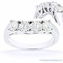 Round Cut Forever Brilliant Moissanite 14k White Gold Curved Wedding Rin... - €532,39 EUR+