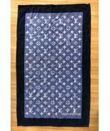 LOUIS VUITTON LV Beach Bath Towel Navy Blue Monogram Sofa Floor Mat Auth... - $673.23