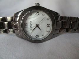 Geneva Watch Black Link Band Round White Face Modern Stylish - $29.00