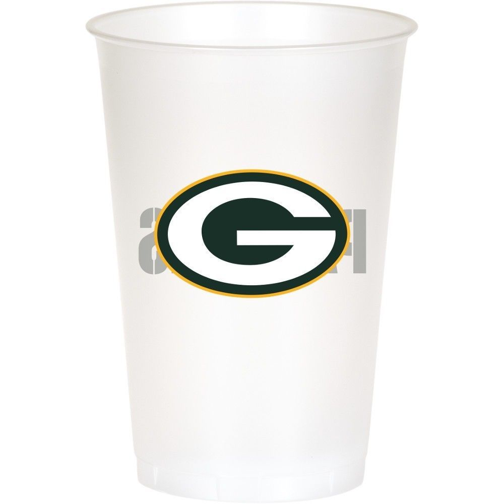 Green Bay Packers NFL 8 Ct 20 oz Cups Plastic Football Tailgating Party