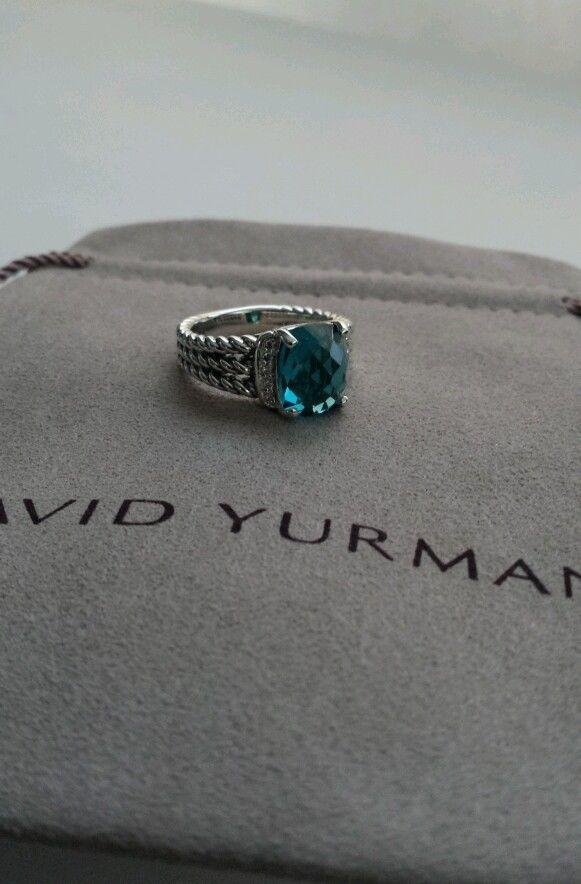 David yurman PETITE WHEATON RING WITH HAMPTON BLUE TOPAZ AND DIAMONDS