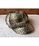 Laplein Newsboy Cabbie Wool Blend Hat Cap Brown White Elastic Back EUC - $16.76