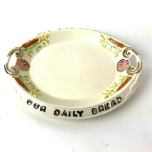 Vtg Arner's Ceramic Give Us This Day Our Daily Bread Dish Platter gold trim - $9.89