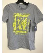 Champion Boys Size 14/16 Short Sleeve Cotton-Blend Crew T-Shirt, Silvers... - $6.73