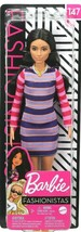Barbie Fashionistas Doll #147 with Long Brunette Hair & Striped Dress - $16.71