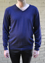 J. Crew Indigo Navy Blue Knit Cotton V-Neck LS Sweater M - $29.20