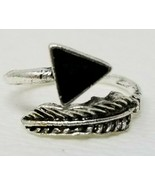 Arrow Oak Leaves Silver Ring Costume Size 6.5 Resizable Black - $6.92