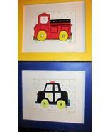 Pair Vintage Layne McDougal Framed Child's Prints: Police Car, Fire Engine - $45.80