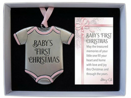 Baby's First Christmas Ornament New Pink Accents Baby Girl 3 1/4 Inch High  - $16.82