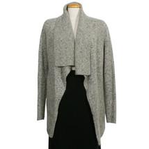 EILEEN FISHER Dark Pearl Gray Donegal Wool Mohair Tweed Cardigan Jacket L - $209.99