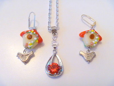 Handcrafted Red Crystal  Pendant Necklace w Lampwork Bird House Earrings Set