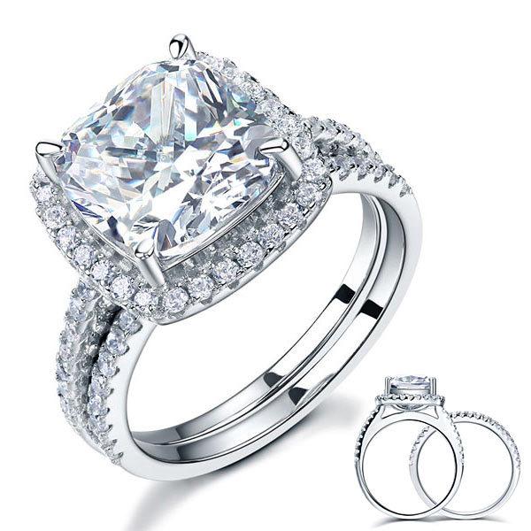 5 Carat Cushion Cut Created Diamond Wedding Ring Set 925 Sterling Silver Jewelry - $129.99