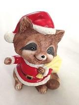 """Brown 3 1/2"""" HOMCO Racoon in Santa Suit with Bag Figurine Numbered - $12.11"""