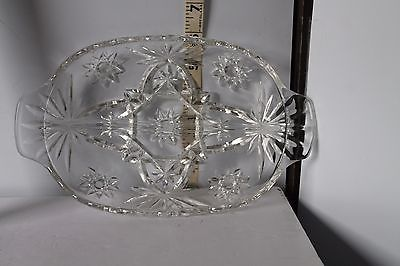 Primary image for Vintage Clear Cut Glass Relish Handled Serving Tray w/Etched Star Pattern 10 x 6