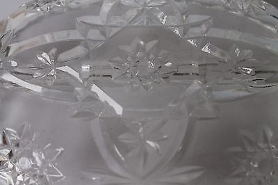 Vintage Clear Cut Glass Relish Handled Serving Tray w/Etched Star Pattern 10 x 6