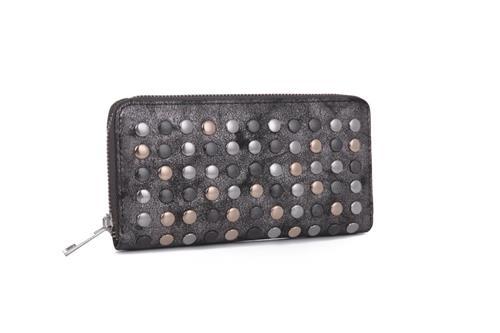 Black katya metallic wallet clutch