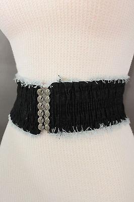 Women Black Fashion Belt Denim Fabric Elastic Hip High Waist Stretch Fringes S M