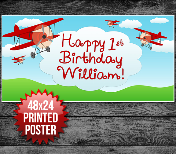 Airplane Birthday Party Banner Decoration Backdrop - Party Decorations