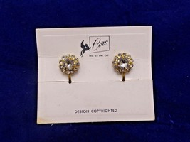 Vintage Coro Rhinestone Earrings Screw Back Earrings On Original Card - $8.91