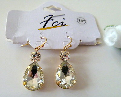 Gold tone Crystal Teardrop Dangle Earrings