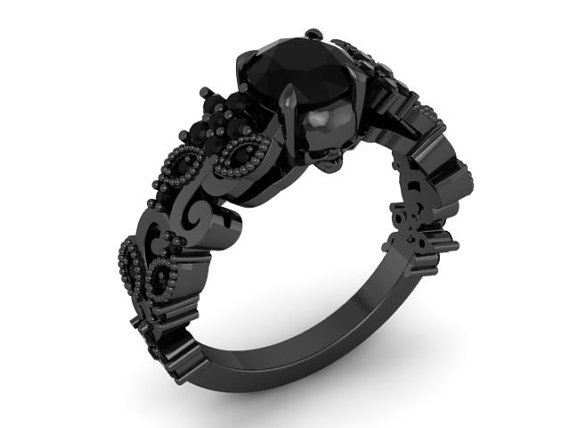 Skull Engagement Ring Black Gold
