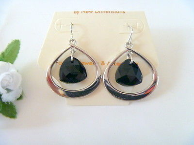 Silver Tone Black  Teardrop Dangle Earrings by New Dimensions