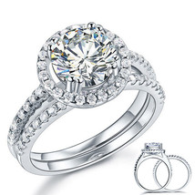 925 Sterling Silver Wedding Engagement Halo Ring Set 2 Carat Created Dia... - $129.99