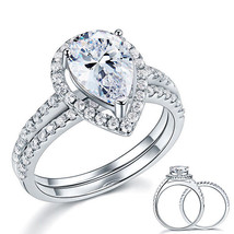 Sterling 925 Silver Bridal Wedding Engagement Ring Set 2 Ct Pear Created... - $139.99
