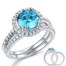 925 Sterling Silver Engagement Halo Ring Set 2 Carat Blue Created Diamond  - $139.99
