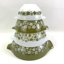 Vintage Set 4 Pyrex Crazy Daisy Spring Blossom Mixing Nesting Cinderella Bowls - $52.20