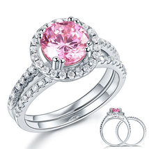 925 Sterling Silver Engagement Halo Ring Set 2 Carat Fancy Pink Created ... - $139.99