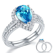 Sterling 925 Silver Wedding Engagement Ring Set 2 Ct Pear Blue Created Diamond - $149.99
