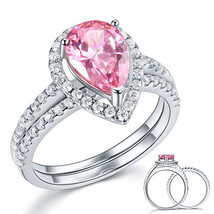 Sterling 925 Silver Wedding Engagement Ring Set 2 Ct Pear Pink Created D... - $149.99