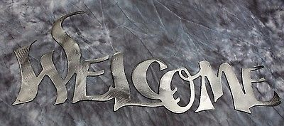"Primary image for Metal Wall Art Words...Welcome   Style 2 18"" wide Silver"