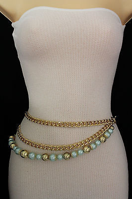 Women Fashion Belt Hip Waist Chunky Gold Metal Chains Big Blue Ball Beads S M L